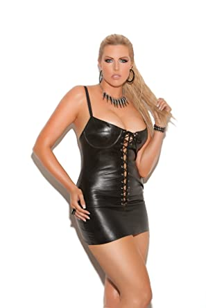 Amazon.com: Lace Up Leather Plus Size Clubwear Mini Dress With ...