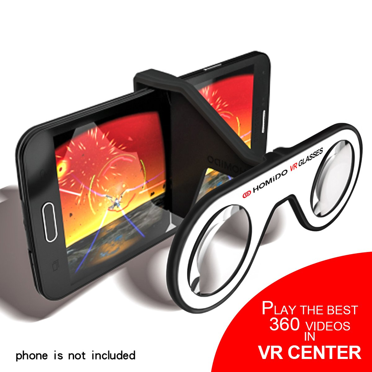Homido Mini Virtual Reality Glasses for Smartphone Foldable VR Headset Compliant with iPhone & Android Cell Phone Vr Games and 3D Movies by Homido