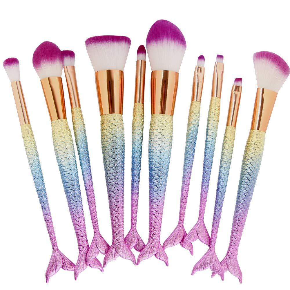 a8f115d9daf Com Cinidy 10pcs Mermaid Makeup Brush Set Synthetic Kabuki Foundation  Blending Blush Eyeliner Face Powder Kit