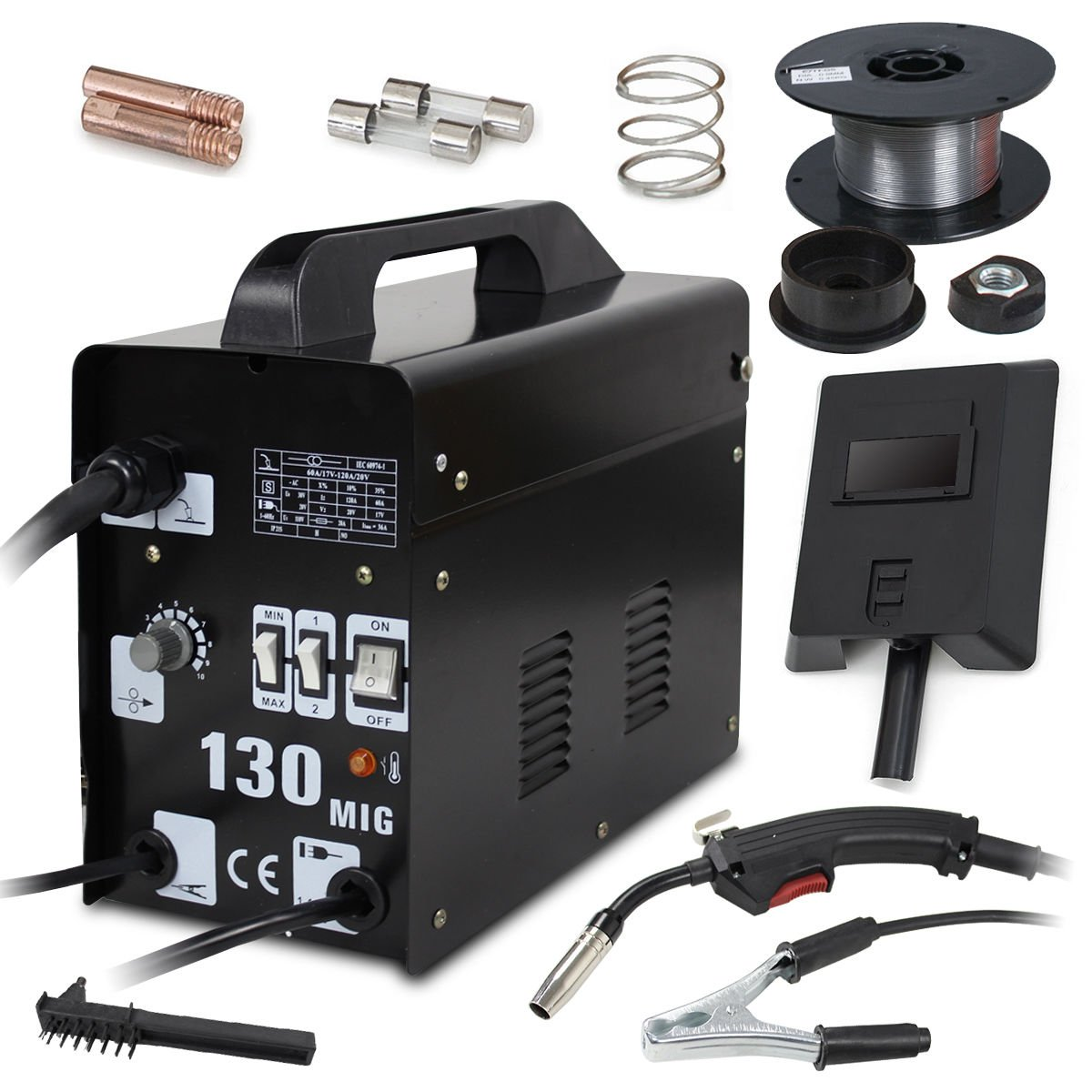 Super Deal PRO Commercial MIG 130 AC Flux Core Wire Automatic Feed Welder Welding Machine w/Free Mask 110V by SUPER DEAL