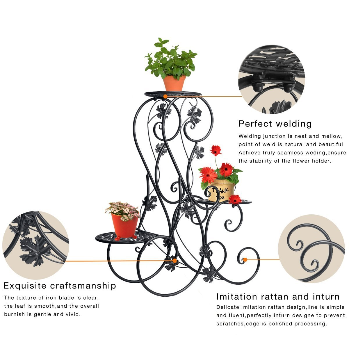 Dazone® 3-Tiered Scroll Decorative Metal Garden Patio Standing Plant Flower Pot Rack Display Shelf Holds 3-Flower Pot (Black) by DAZONE (Image #2)
