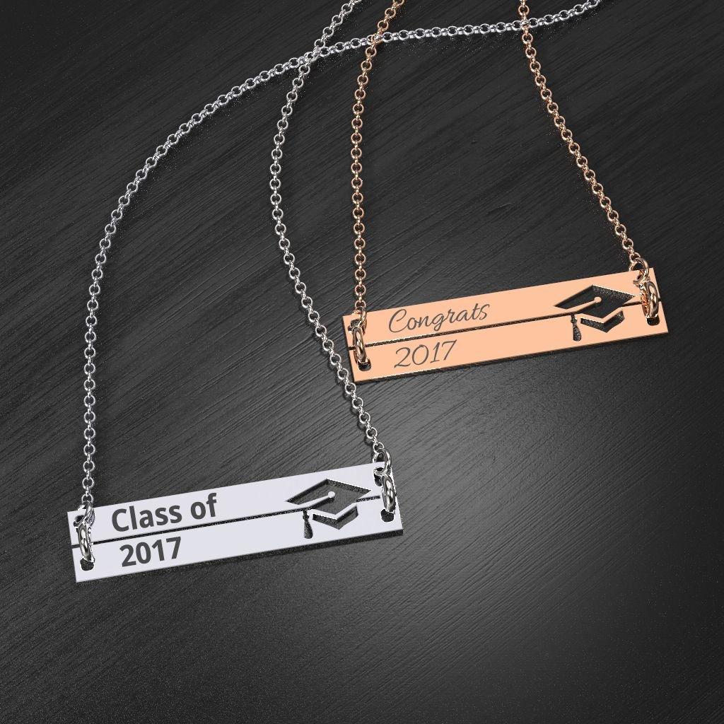 Silver Engravable Double Bar Graduation Cap Necklace by JEWLR