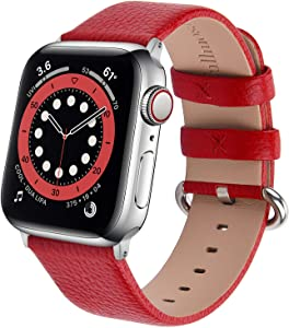 Leather Watch Band Fullmosa Compatible for Apple Watch Band Leather Series 5/4/3/2/1 Stainless Steel Silver Buckle Women Men 38mm 40mm 42mm 44mm, Replacement Wristbands Strap, Edition, Sport Straps