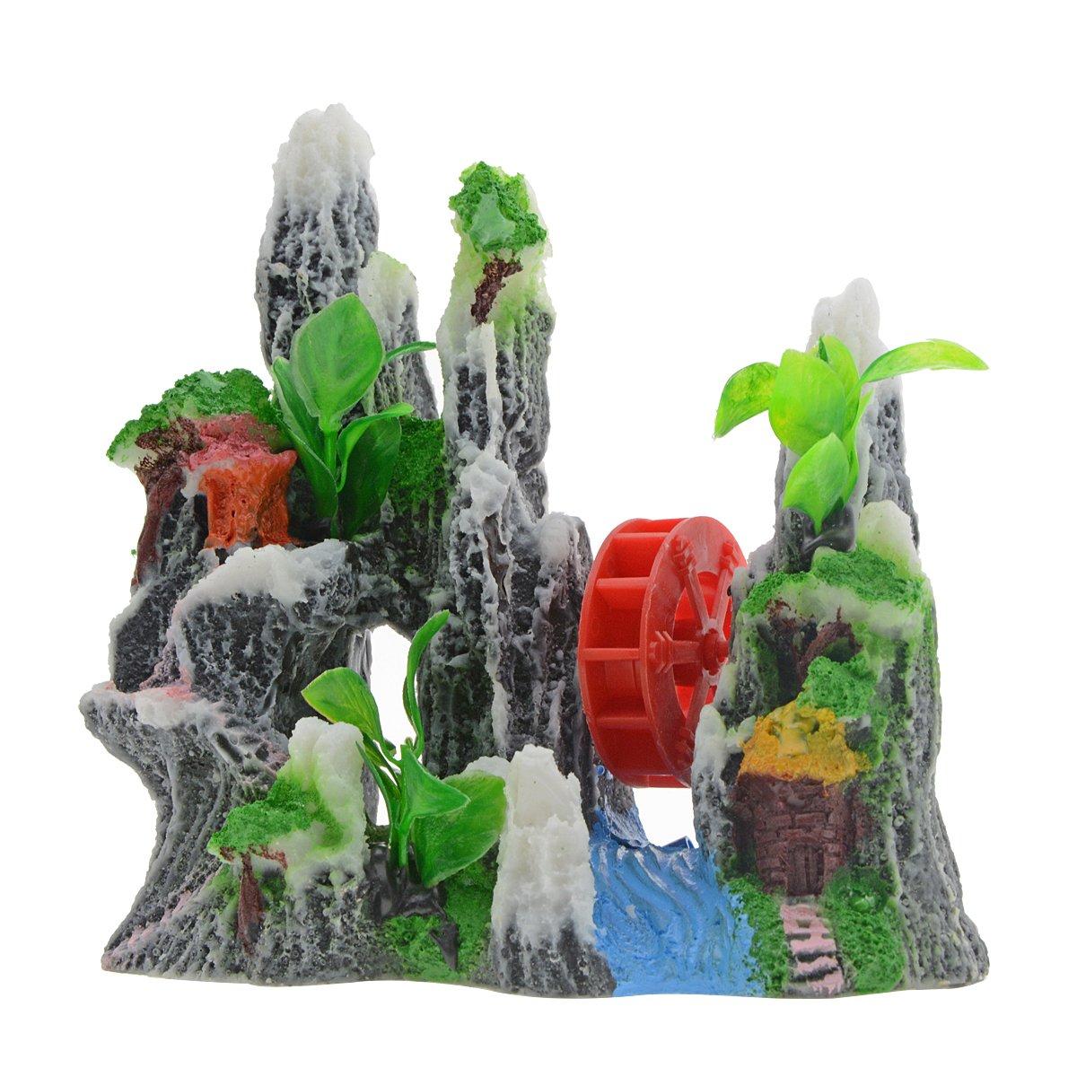 Saim Adornos para Acuario de Resina Decorativos con Diseño de Caminos de Montaña, Color Rojo, para Acuario, casa de Realista, Plantas Artificiales, Paisaje, ...