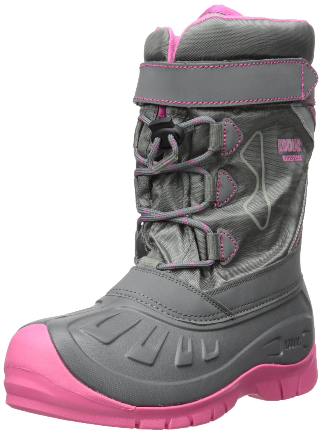 Kodiak Girls' Gracie Snow Boot, Grey/Cotton Candy Pink, 3 M US Big Kid