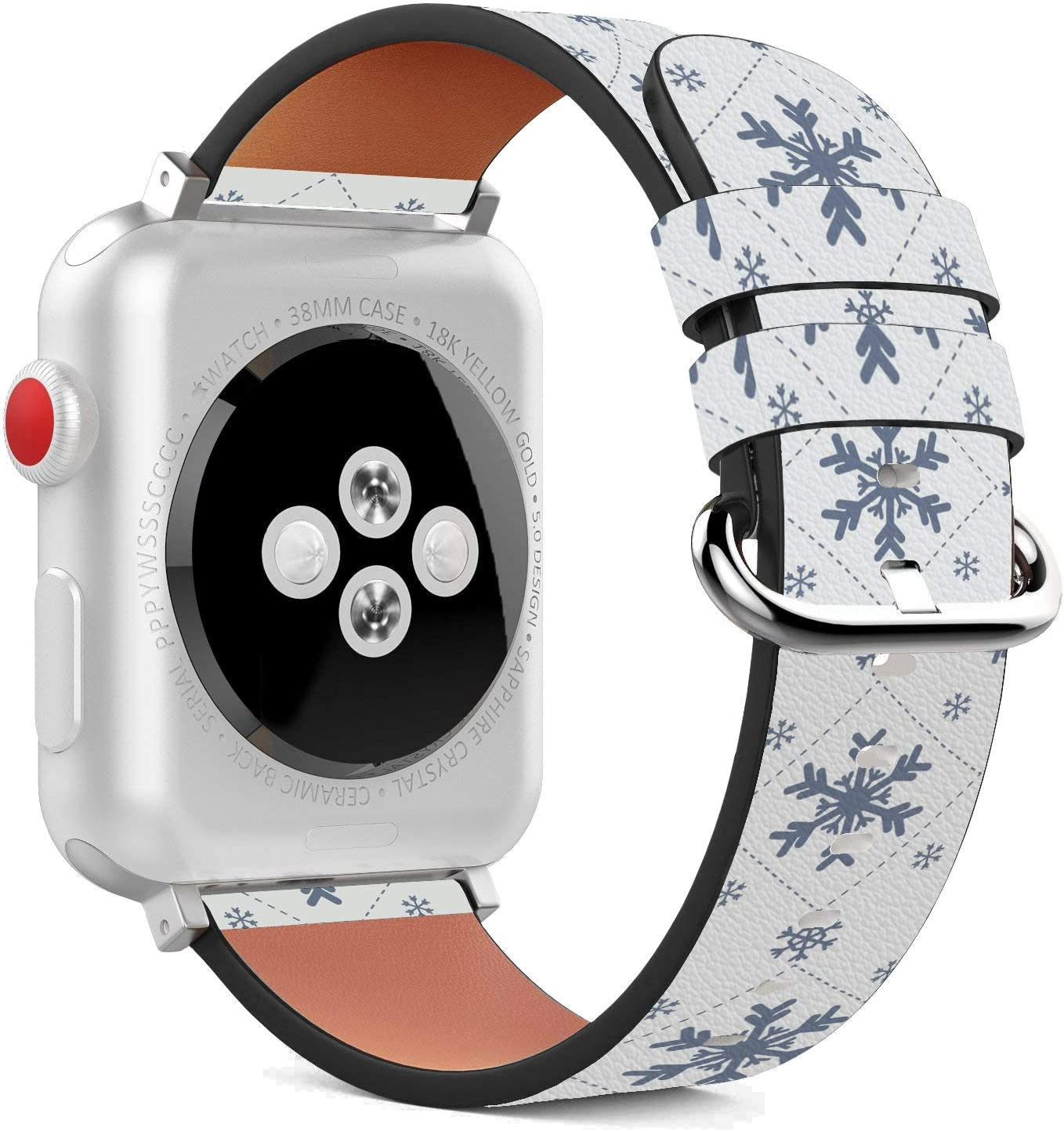 Compatible with Apple Watch - 38mm / 40mm (Serie 5,4,3,2,1) Leather Wristband Bracelet with Stainless Steel Clasp and Adapters - Snowflake Blue Winter
