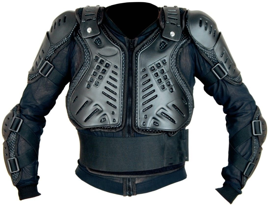 KIDS NEW DESIGN OFF ROAD MOTOCROSS CUB BODY CE ARMOUR CHEST ELBOW BACK SPINE DEFLECTOR JACKET BLACK - Black - 8 Years XTRM