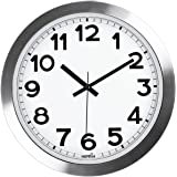 Large Indoor Hippih 12 Inch Non-Ticking & Silent Decorative Silver Aluminium Wall Clock,B