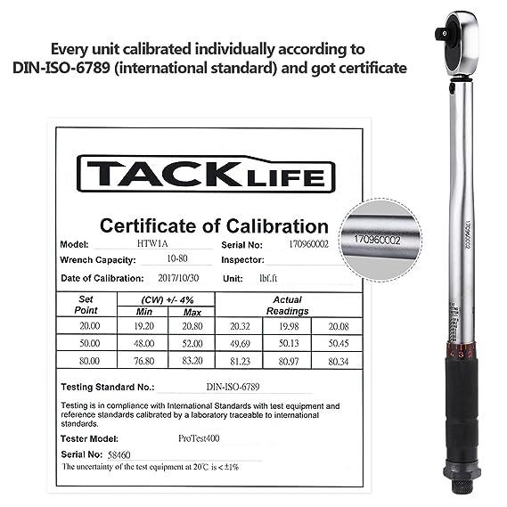 Llave dinamométrica de 3/8 pulgadas de Tacklife, 13,6-108,5 Nm, acción de carraca hacia adelante y atrás, precisión 4 %, con reductor de 1/4 pulgadas y ...