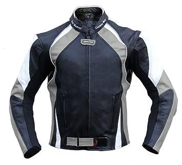German Wear Chaqueta de piel para moto, chaqueta chopper, chaqueta de piel de vacuno, chaqueta de motorista, color negro/gris/blanco
