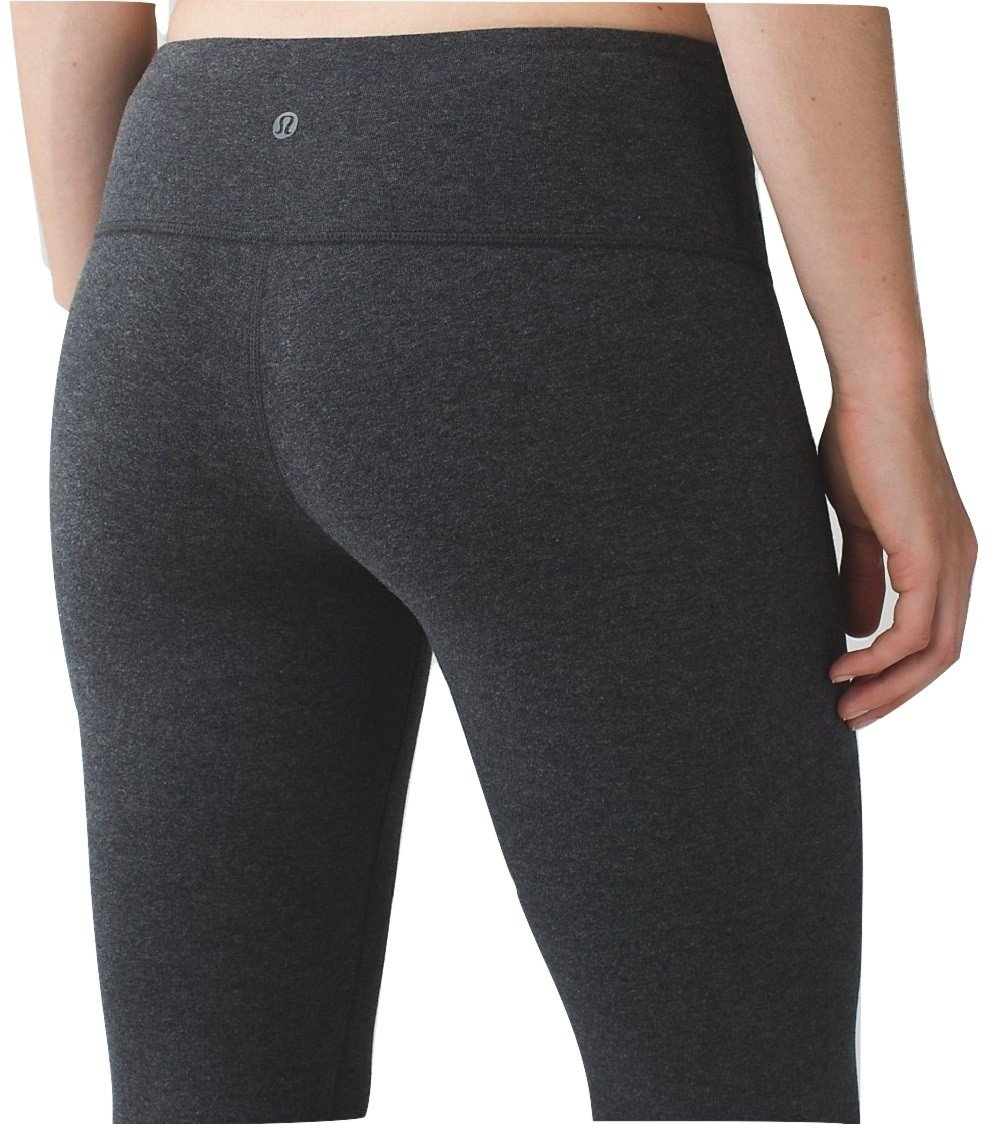 Lululemon Wunder Under Crop III Cotton Yoga Pants Heathered Black (8)