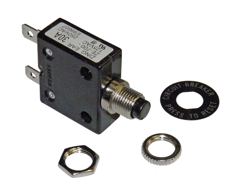 Philmore 30 Amp Push Button Circuit Breaker 32V DC or 250V AC ; B7030 LKG Industries