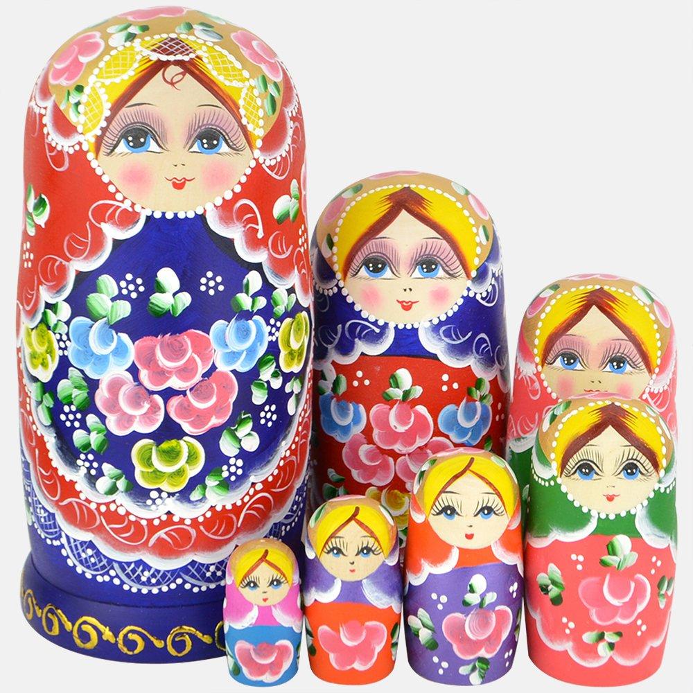 YAKELUS Marchio di Matrioska specializzato, nesting dolls Matrioske Bambola Matrioska russa in 7 pezzi, tiglio di zona frigida, regalo e giocattolo 0702