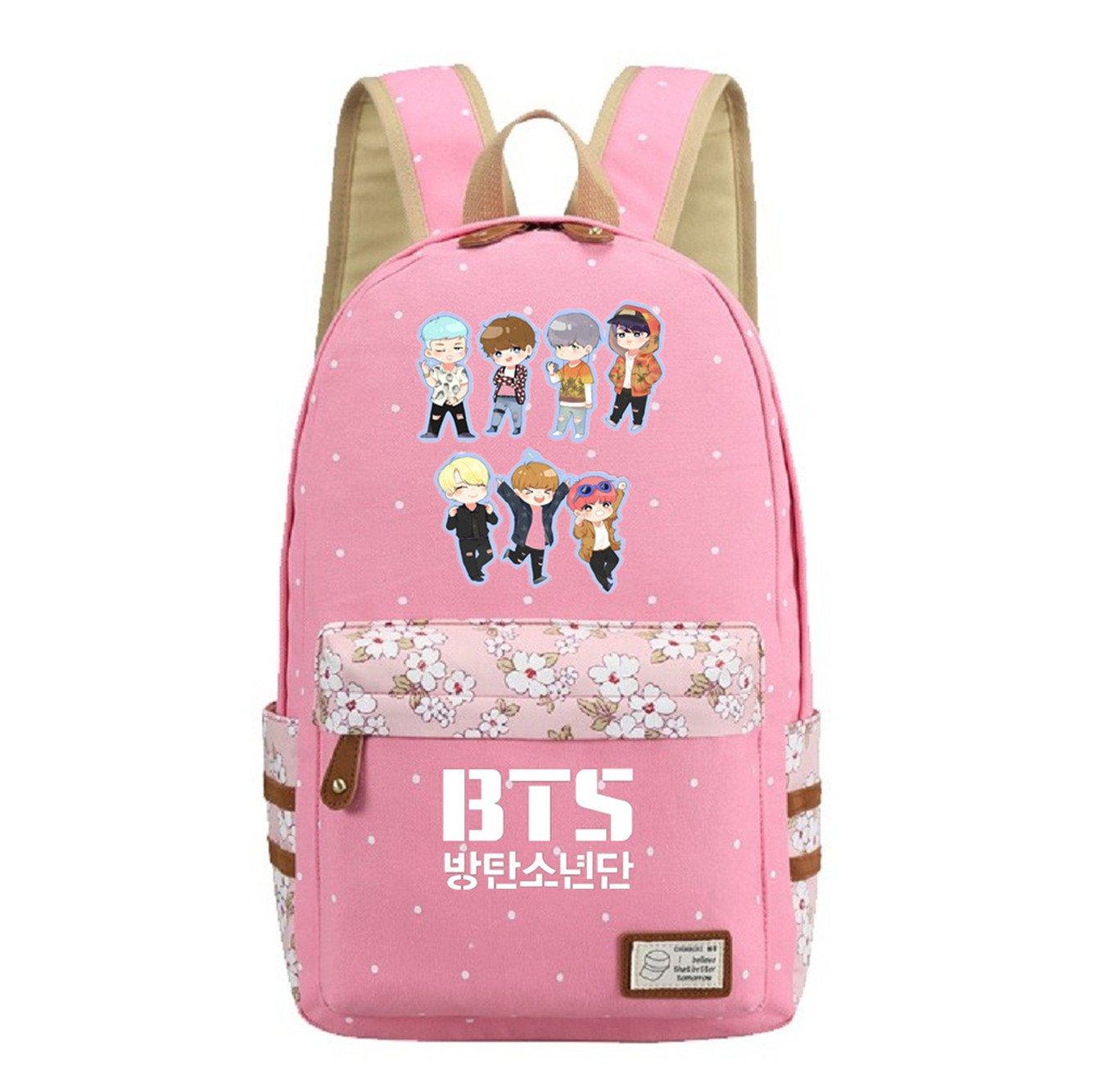 JUSTGOGO KPOP BTS Bangtan Boys Backpack Daypack Laptop Bag College Bag Book Bag School Bag (Pink 1)