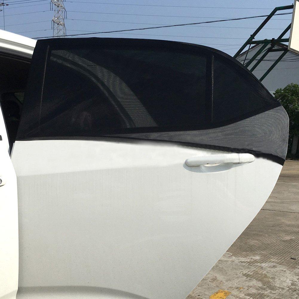 Basong 1 Pair Black Car Window Sunshade Curtain Sunshade Net Car Rear Side Window Sun Covers for Kids Pets M