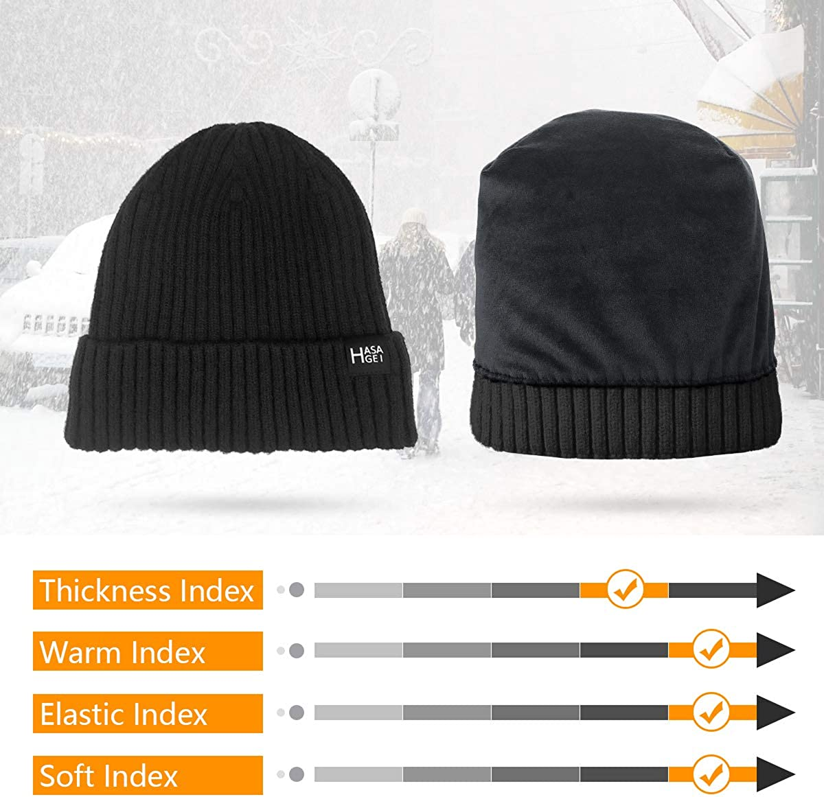 HASAGEI Beanie Hat Mens Running Hat Slouch Beanie Skull Caps for Men with Breathable Comfortable High Elasticity Windproof for Running Skiing Cycling Snowboarding Climbing Motorcycling