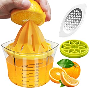 Citrus Lemon Manual Juicer, VESKYAO Orange Lime Manual Hand Squeezer with Measuring Cup, Grater and Ice Tray, Multi-size Reamers