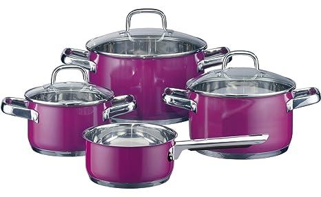 Elo 45905 - Batería de cocina (4 piezas, acero inoxidable), color violeta