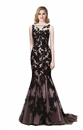 Babyonline Black Beteau Sheer Lace Mermaid Prom Dresses Evening Gowns