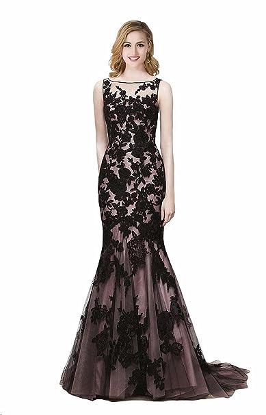 Babyonline vestido de fiesta negro, con corte sirena, encaje y tirantes brillantes negro A