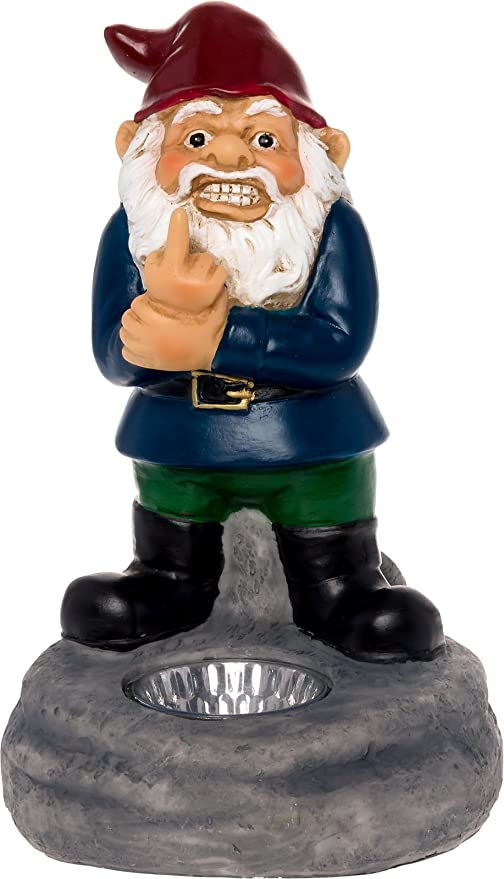 Solar Powered Middle Finger Lawn Gnome   Light Up Garden Statue By  GreenLighting