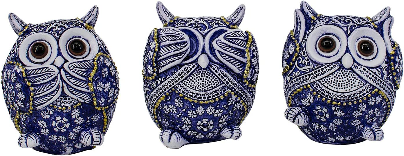 Smaleaves Owl Figurine Decor with Different Gestures, Cute Owl Crafted Statue, Adorable Decoration for Home Office Living Room, Animal Sculptures Collection BFF for Owls Lovers, Set of 3,Blue (Small)