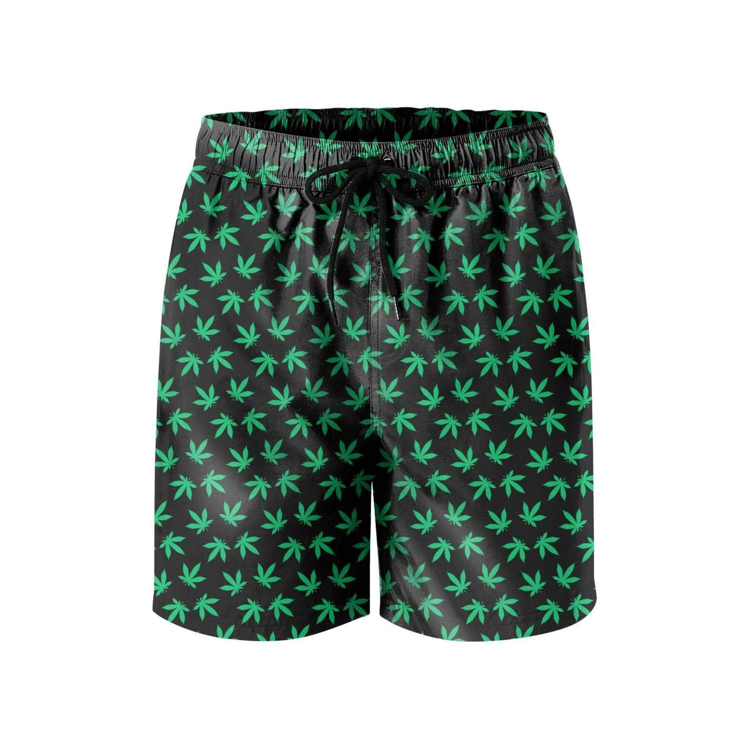 Microfiber Cannabis Leaf Quick Dry Swimming Trunks Mens Shorts Printed