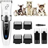 GHB Dog Clippers Dog Grooming Clippers Pet Grooming Kit Cordless with 2 Rechargeable Batteries 4 Guide Combs and Cleaning Brush Low Noise