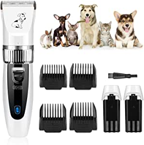 GHB Dog Clippers Dog Grooming Clippers Pet Grooming Kit Cordless Low Noise with 2 Rechargeable Batteries 4 Guide Combs and Cleaning Brush AU Plug