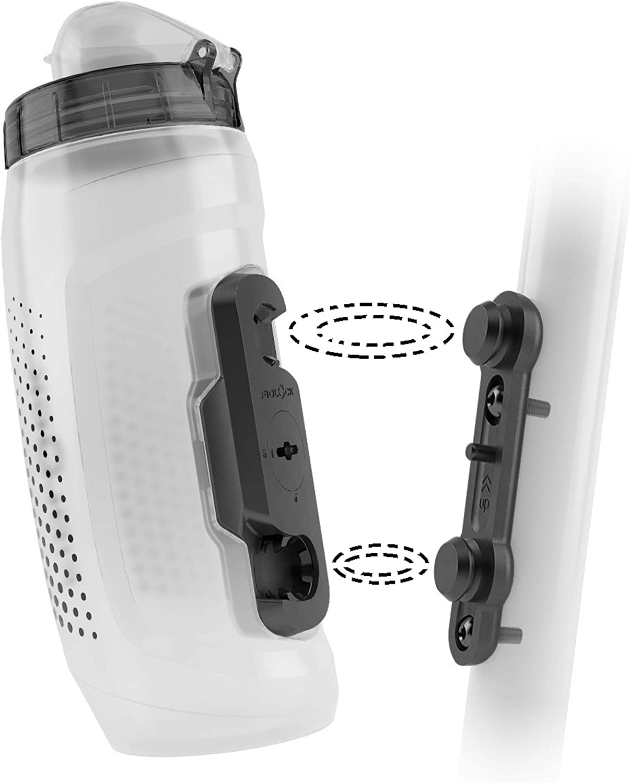 Fidlock TWIST Bottle 590 Set- Bike Water Bottle Holder with Attached Bottle - Cage Free Magnetic Mount - Clear
