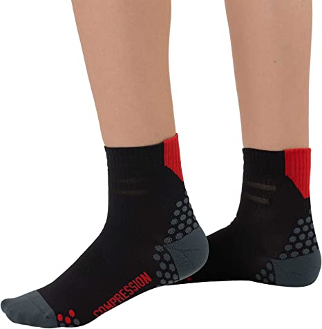 Dot Padding Pure Athlete Compression Ankle Socks for Running Moisture Wicking