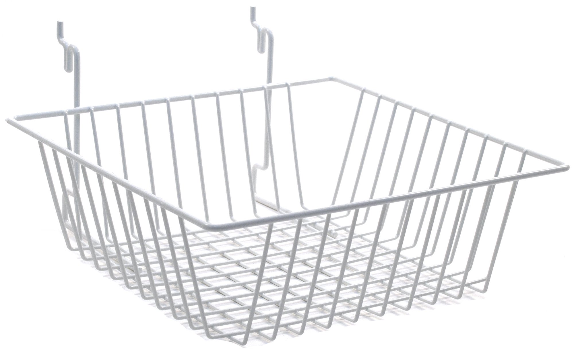 KC Store Fixtures A03006 Basket Fits Slatwall, Grid, Pegboard, 12'' W x 12'' D x 4'' H, White (Pack of 10)