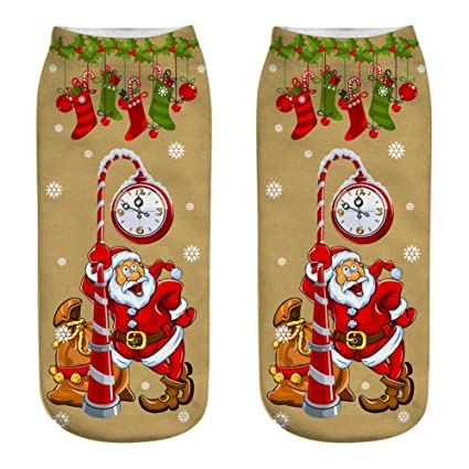 KathShop Women 3D Christmas Socks Unisex Cartoon Elk Snowman Santa Socks Low Cut Ankle Printed Christmas