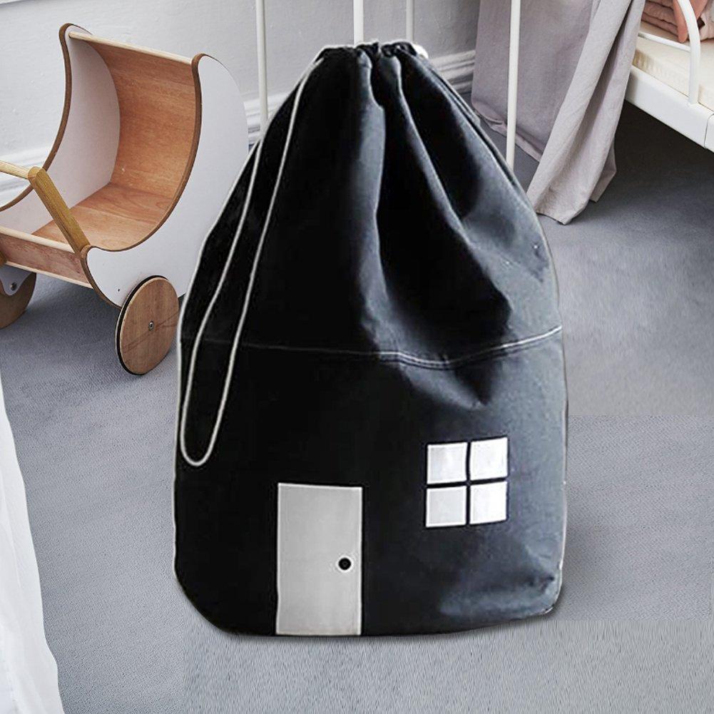 White Toy House Storage Bag for Organizing Kids Toys with Unique Drawstring /& Key Bag