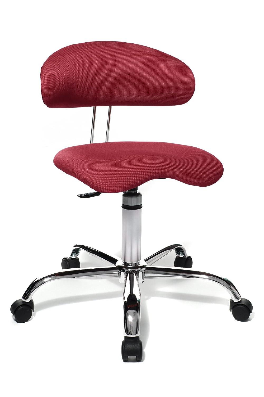 Topstar Sitness 40, Fitnesshocker, Arbeitshocker, Rollhocker mit Rückenunterstützung, 3-Dimensional bewegliche Sitzfläche, Stoffbezug Rot