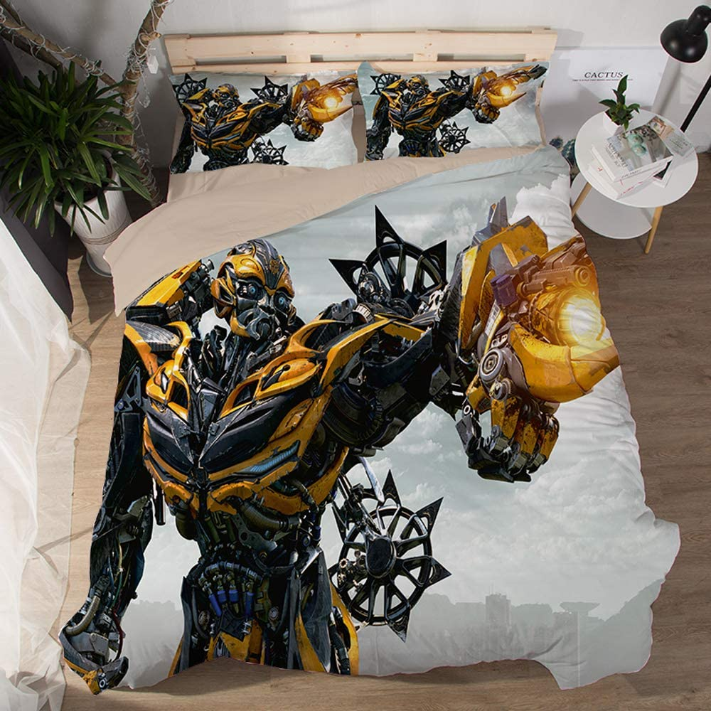 EVDAY 3D Transformers Bumblebee Duvet Cover Set for Boys Ultra Soft Marvel Heroes Kids Bed Set 3Piece Including 1Duvet Cover,2Pillowcases Twin Size