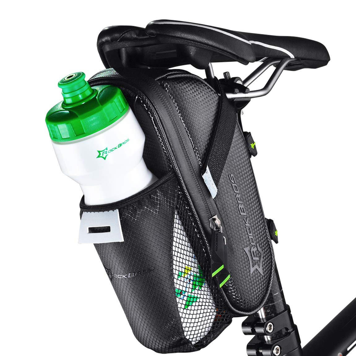 ROCK BROS 1.6L Bike Saddle Bag with Water Bottle Pouch Waterproof Bike Bags Under Seat Pack for Mountain Road Bicycles Storage Repair Kit Tools Gear