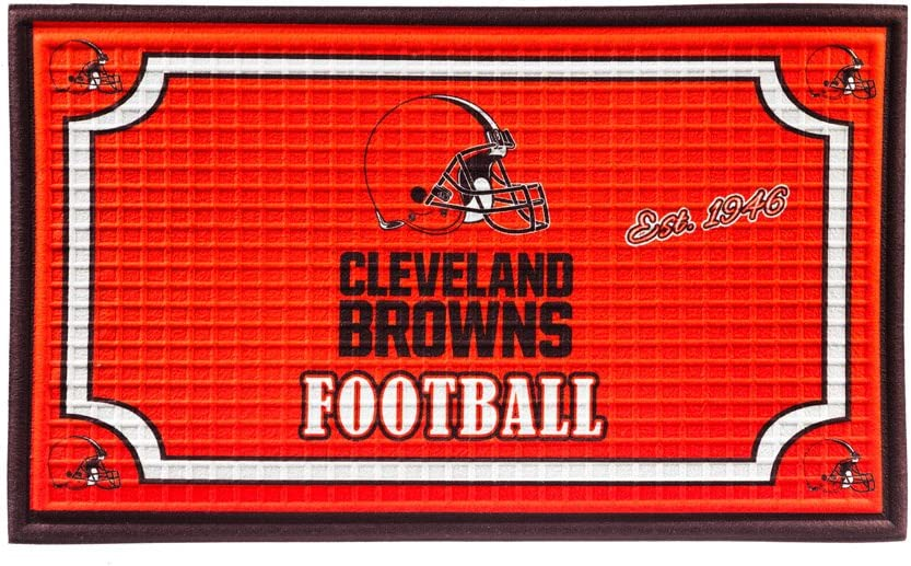 """Team Sports America NFL Cleveland Browns Embossed Outdoor-Safe Mat - 30"""" W x 18"""" H Durable Non Slip Floormat for Football Fans"""