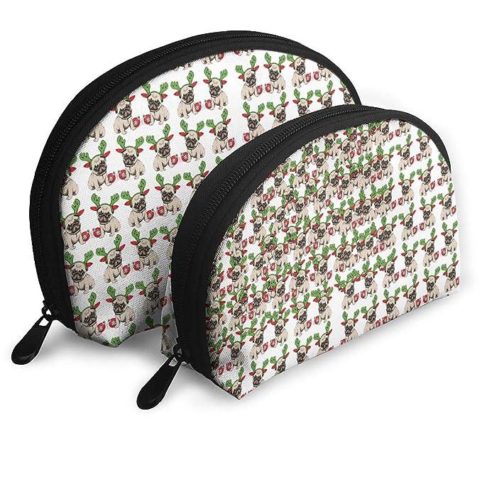 8757e77c86 Amazon.com  Pouch Zipper Toiletry Organizer Travel Clutch Bag Antler Pug  Pattern Set Of 2 Portable Makeup Bag  Clothing