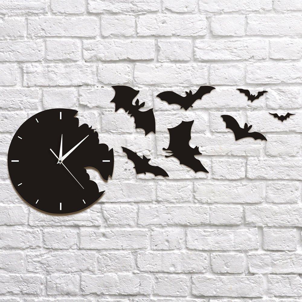 A Bat Clock from The Escape Clock Bat Silhouette Wall Clock Scary Bat Symbols Home Decor Contemporary Black Wall Watch