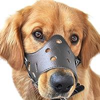ubest Adjustable Leather Dog Muzzle, Safety Pet Muzzles Mask Prevent Biting Chewing Barking Black Medium