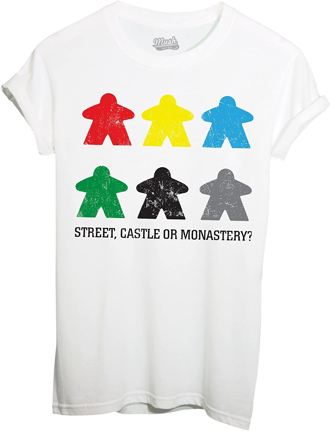 IMAGE Camiseta Carcassonne Meeples Games by Dress Your Style, Blanco: Amazon.es: Deportes y aire libre