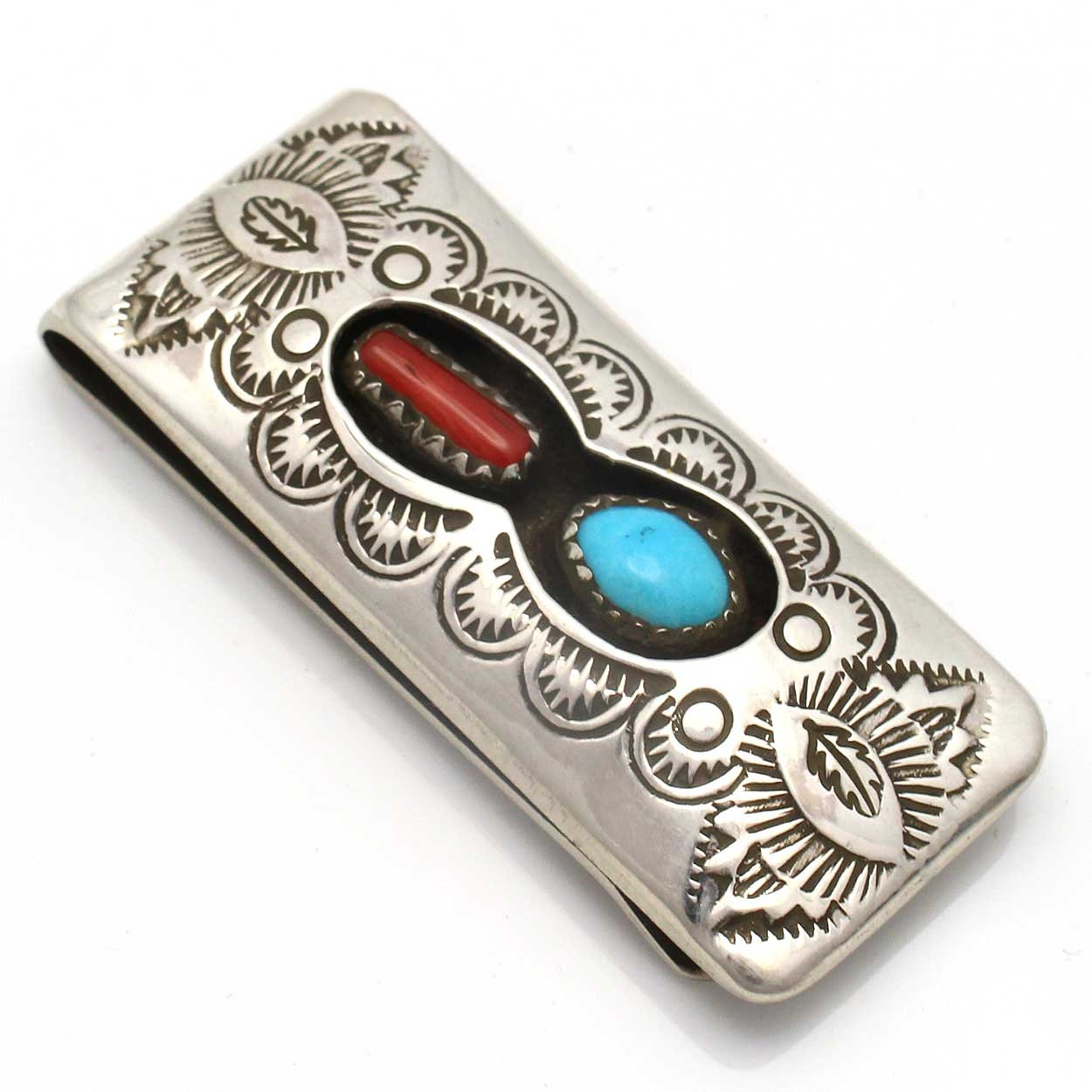 Stamped Turquoise & Coral Money Clip by Skeets