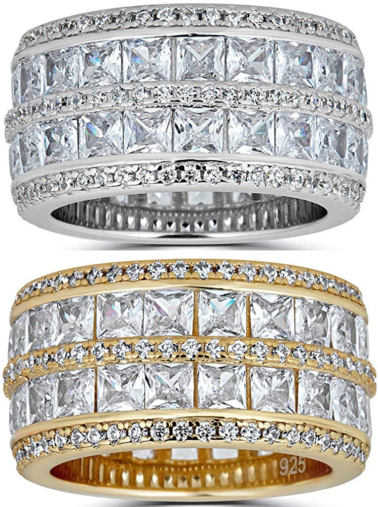 Harlembling Real Solid 925 Silver His Or Hers Baguette Tennis Ring - Wedding Band Or Pinky Ring Looks Nice On Anyone - Iced Eternity