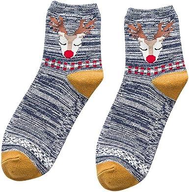 FRAUIT Calcetines de Navidad Calcetines de Algodón Mujer ...