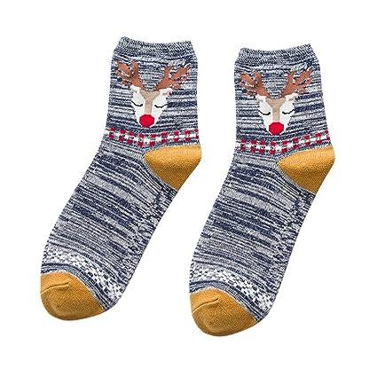 Gusspower Rayas Calcetines de algodón Calcetines térmicos Adulto Unisex Calcetines Medias Venado de Navidad (Armada