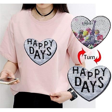 67b5dfe2c Parche ropa camiseta mujer pegatinas Reversible cambio de color lentejuelas  mariposa amor parches de corazón para