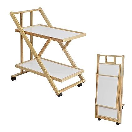 SoBuy® fkw52-wn, plegable de madera 2 estantes carrito auxiliar ...