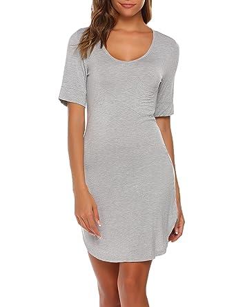 3e4bcc14f Adome Women Sexy V-Neck Short Sleeve Solid Mini Nighties Sleepwear Dress  Navy Blue Flower Grey Black Size 8-26  Amazon.co.uk  Clothing