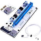 Wonoovi PCIe Riser Adapter VER 008S PCI-E 16x to 1x 60cm USB 3.0 Extension Cable & 4pin 6pinb to SATA Power Cable - Ethereum Mining ETH